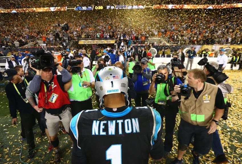 e3a826254606da Feb 7, 2016; Santa Clara, CA, USA; Carolina Panthers quarterback Cam Newton  (1) walks off the field after Super Bowl 50 against the Denver Broncos at  Levi's ...