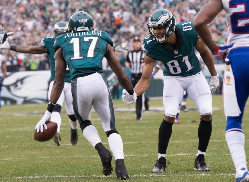 0c665ba3dc6 Dec 13, 2015; Philadelphia, PA, USA; Philadelphia Eagles wide receiver Nelson  Agholor (17) celebrates with wide receiver Jordan Matthews (81) after a 53  ...