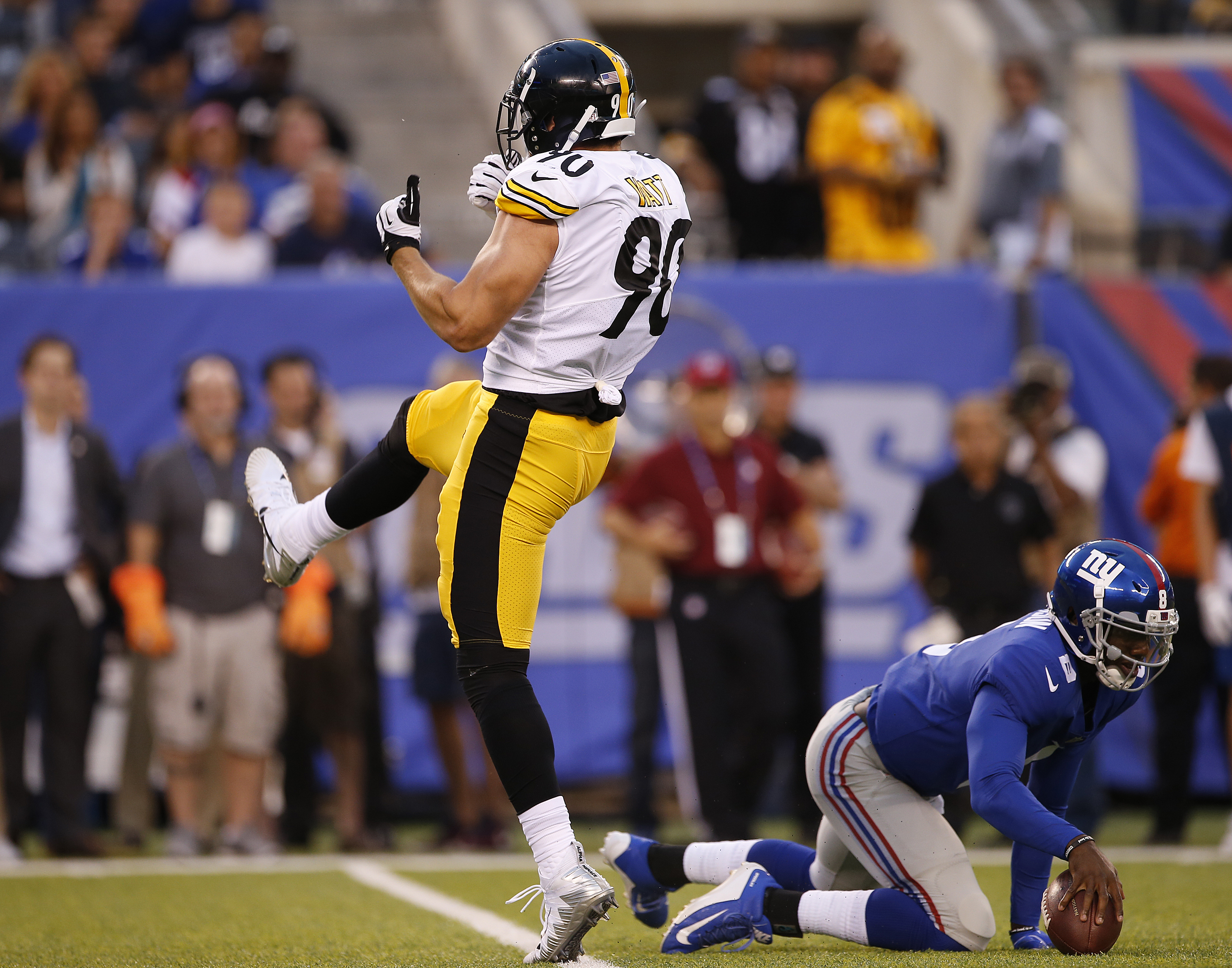 d99e8e8c9 ... NJ – AUGUST 11 T.J. Watt 90 of the Pittsburgh Steelers reacts after